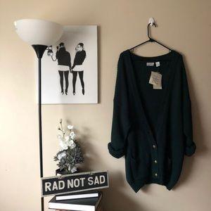 Plus Size NWT Army green vintage knit cardigan